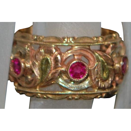 14K Fancy Multi-Colored Gold and Ruby Eternity Band - 1940's