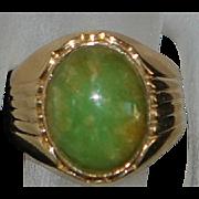 14K Chinese Green Jade Ring - 1960's