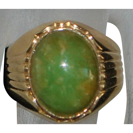 14K Chinese Green Jade Ring - 1960's