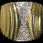 Fine 18K Pave Diamond Fashion Ring - 1980's