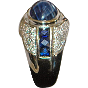 18K Custom Made 4ct Blue Sapphire and Pave Diamond Ring - 1980's