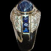 18K Custom Made 4ct Blue Sapphire and Pave Diamond Ring - 1980's