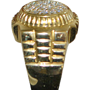 14K Heavy Man's Pave Diamond Ring - 1980's