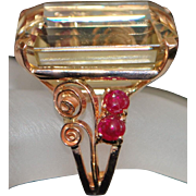 14K Large Retro Citrine and Ruby Cocktail Ring - 1940's