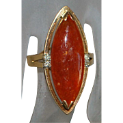 14K Chinese Red Jade Marquise Ring - 1960's