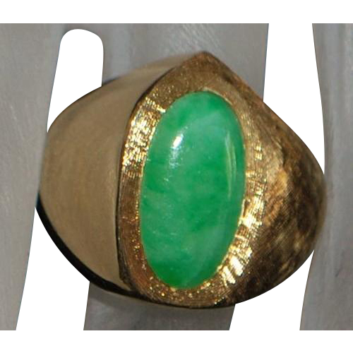 14K Custom Made Apple Green Jade Ring - 1980's