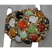 14K Chinese Large Dome Jade Ring - 1960's