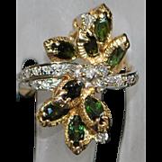14K Custom Made Green Tourmaline and Diamond Ring - 1980's