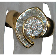 14K Custom Made Pave Diamond Fashion Ring - 1980's