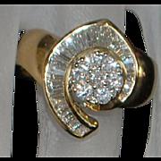 14K Custom Made Pave Diamond Fashion Ring - 1980's