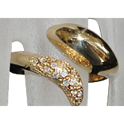 14K Pave Diamond and Gold Custom By-pass Ring - 1980's