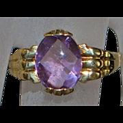 14K Custom Fancy Cut Amethyst Ring - 1980's