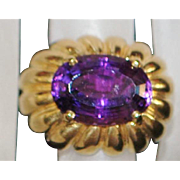 Fine Large 14K Amethyst Gold Fashion Ring - 1980's