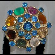 14K Natural Gemstone Princess Dome Ring - 1960