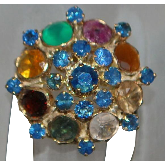14K Natural Gemstone Princess Dome Ring - 1960