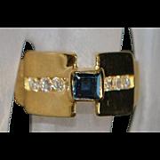 18K Sapphire and Diamond Pyramid Ring - 1970's