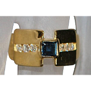 18K Sapphire and Diamond Pyramid Ring - 1970's