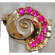 14k Large Classic Retro Ruby Cocktail Ring - 1940's