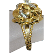 18K Large Gold and Diamond Fashion Ring - 1980's