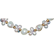 14K Gold and Lavender Fresh Water Pearl Necklace