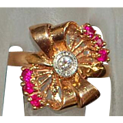 14K r/g Retro Diamond and Ruby Bow Ring - 1940's