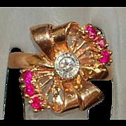 14K r/g Retro Diamond and Ruby Bow Ring - 1940's