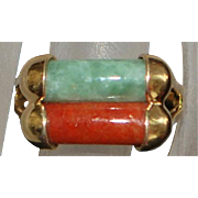 14K Red and Green Jade Ring - 1960's