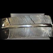 Fine Sterling Silver Feather Form Cuff Bracelet - Inca