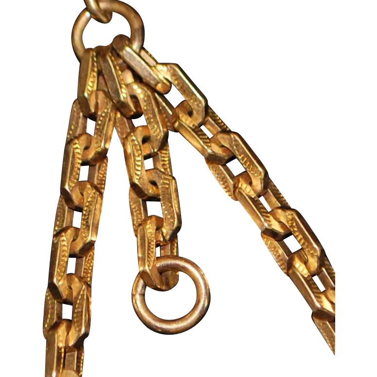 Rose Gold Filled Double Albert Watch Chain - 1900