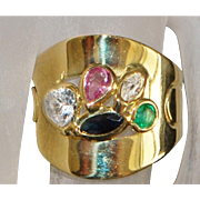 18K Italian Murano Glass Cigar Band Ring - 1980's