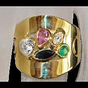 18K Italian Murano Glass Cigar Band Ring - 1980's