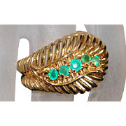 14K Emerald and Gold Feather Ring - 1960's