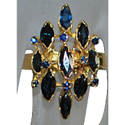 14K Marquise Blue Sapphire Fashion Ring - 1980's