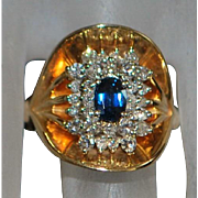 14K Large Custom Made Blue Sapphire and Pave Diamond Ring - 1960's