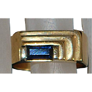 14K Man's  Retro Blue Sapphire Ring - 1940's