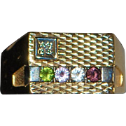 14K Large Man's Gemstone and Gold Ring - 1980's