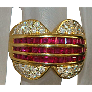 18K Ruby and Pave Diamond Fashion Ring - 1980's