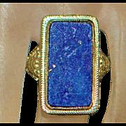 18K w/g Lapis Lazuli Filigree Ring - 1930