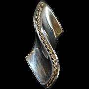 Pair of Large 14K and Sterling Silver Modernist  Earrings - Krypell