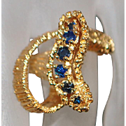 14k Modernist Custom Made Sapphire Ring - 1970's
