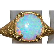 14K Pin Fire Opal (4ct) Filigree Ring - 1980's