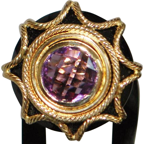 14K Italian Fancy Amethyst and Onyx Ring - 1980's