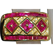 14k Man's Ruby and Diamond Ring - 1980's