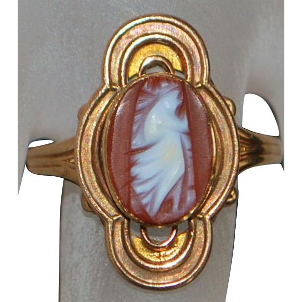 Victorian 10K r/g Angel Cameo Ring - 1895