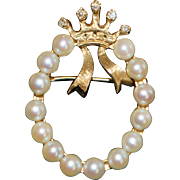 14K Cultured Pearl and Diamond Florentine Crown Circle Brooch - 1960's