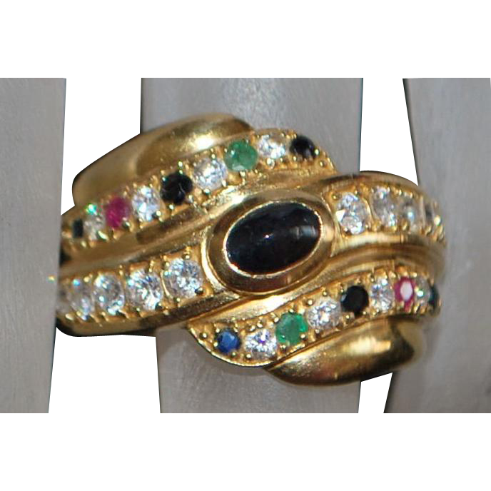 14K Sapphire, Emerald, Ruby and Diamond Ring - 1980's