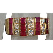 14K Fine Natural Ruby and Diamond Band - 1980's