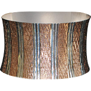 Italian Two Tone Sterling Silver Cuff Bracelet