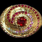 14K Ruby, Pink Sapphire, Diamond Ring - 1980's