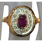14K Ruby and Diamond Ring - 1960's